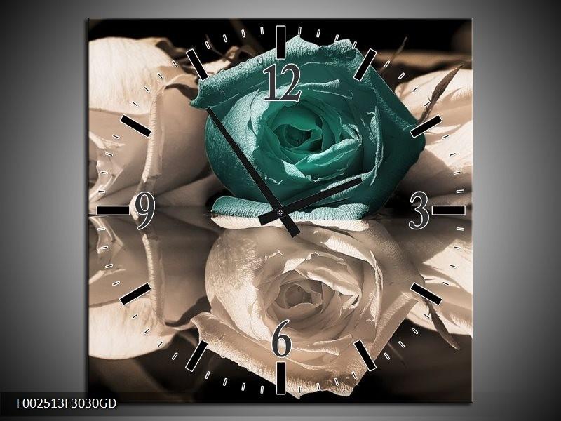 Wandklok op Glas Roos   Kleur: Blauw, Grijs, Wit   F002513CGD