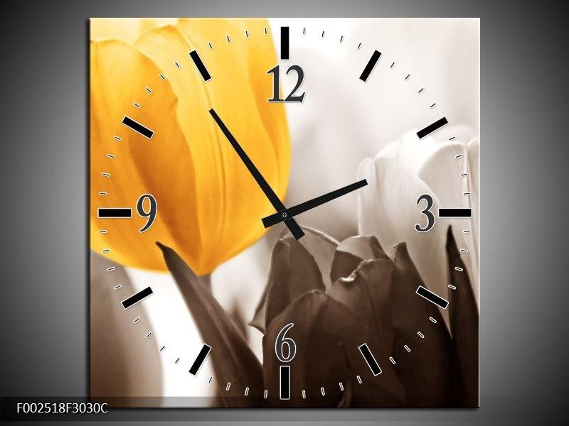 Wandklok op Canvas Tulpen | Kleur: Geel, Wit, Grijs | F002518C