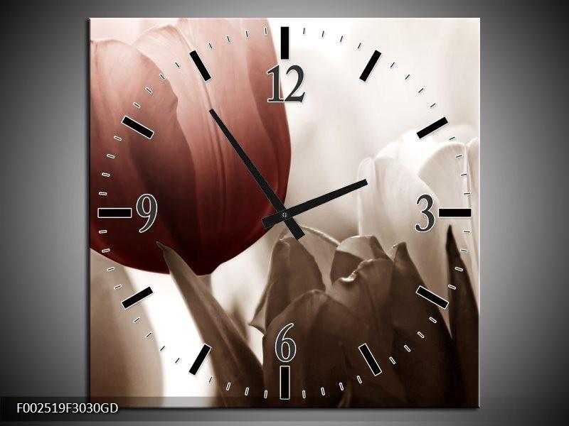 Wandklok op Glas Tulpen | Kleur: Bruin, Wit, Grijs | F002519CGD