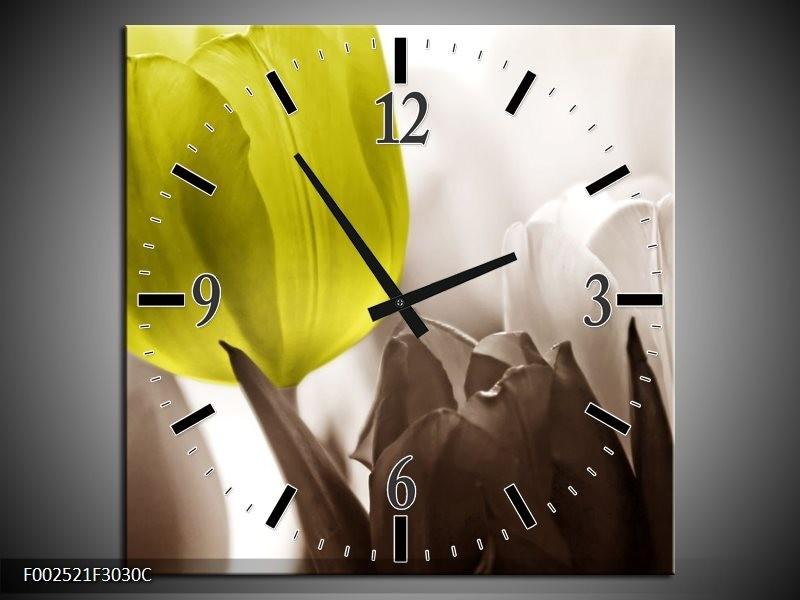 Wandklok op Canvas Tulpen | Kleur: Groen, Wit, Grijs | F002521C