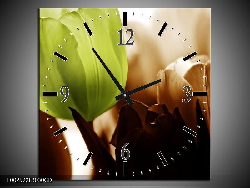 Wandklok op Glas Tulpen | Kleur: Groen, Wit, Grijs | F002522CGD