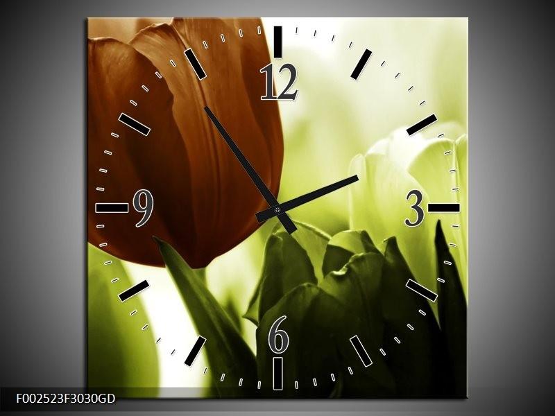 Wandklok op Glas Tulpen | Kleur: Bruin, Wit, Grijs | F002523CGD