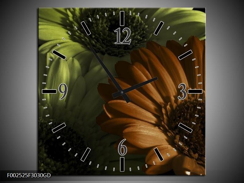 Wandklok op Glas Bloem | Kleur: Bruin, Groen | F002525CGD
