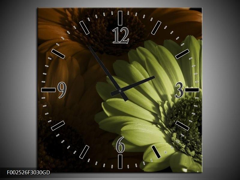 Wandklok op Glas Bloem | Kleur: Bruin, Groen | F002526CGD