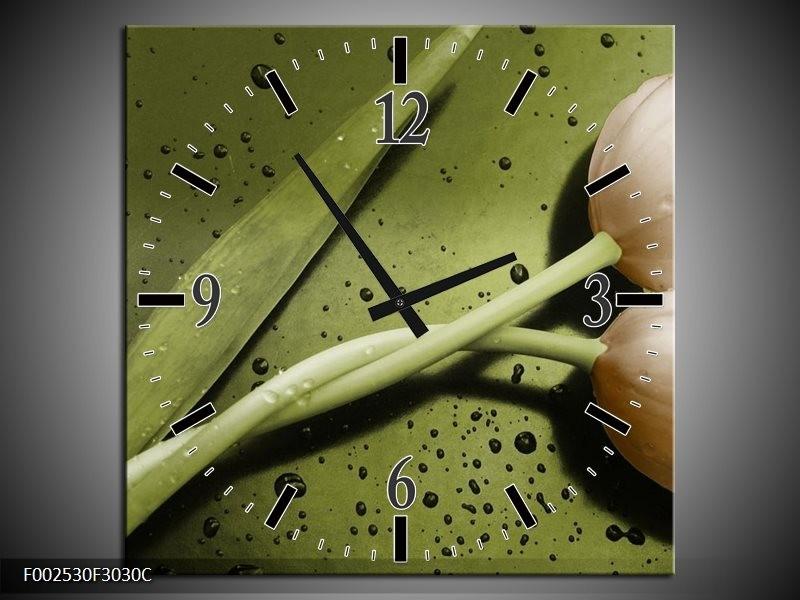 Wandklok op Canvas Tulp | Kleur: Groen, Bruin | F002530C