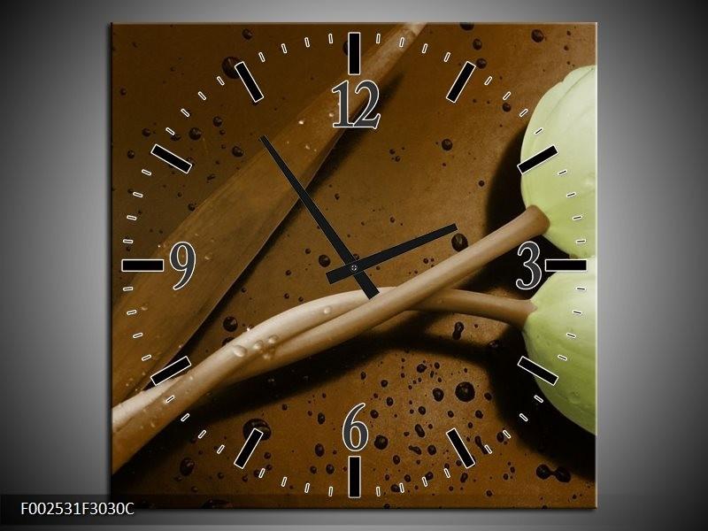 Wandklok op Canvas Tulp | Kleur: Bruin, Groen | F002531C