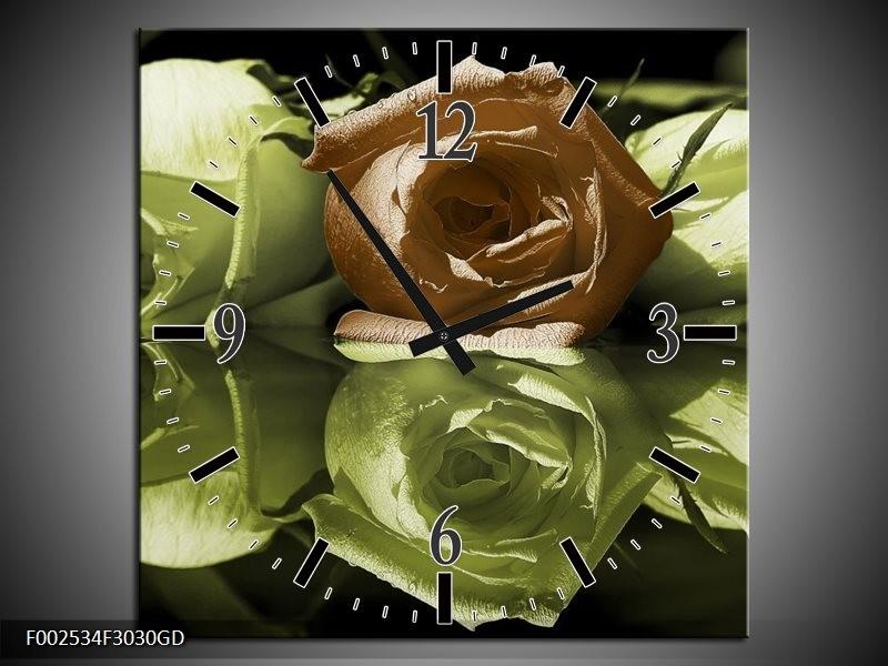 Wandklok op Glas Roos | Kleur: Groen, Bruin, Wit | F002534CGD