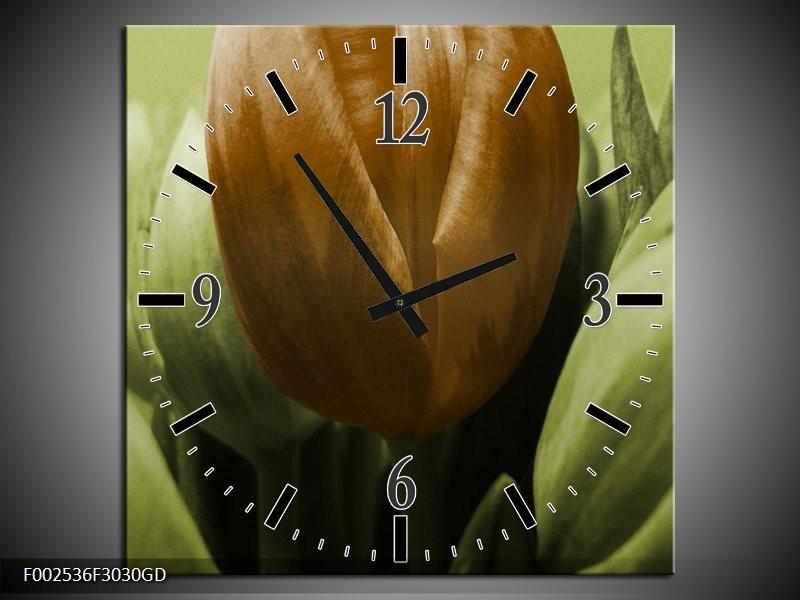 Wandklok op Glas Tulp   Kleur: Bruin, Groen   F002536CGD