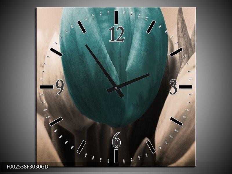 Wandklok op Glas Tulp | Kleur: Blauw, Grijs, Zwart | F002538CGD