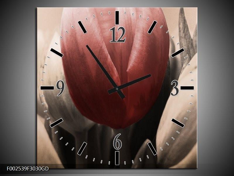 Wandklok op Glas Tulp | Kleur: Rood, Grijs, Zwart | F002539CGD