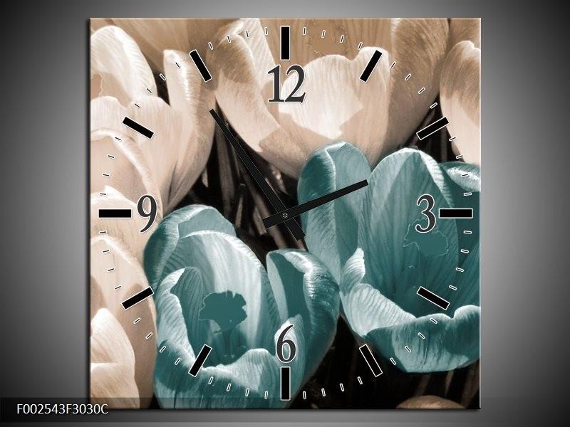 Wandklok op Canvas Krokus | Kleur: Blauw, Grijs, Wit | F002543C