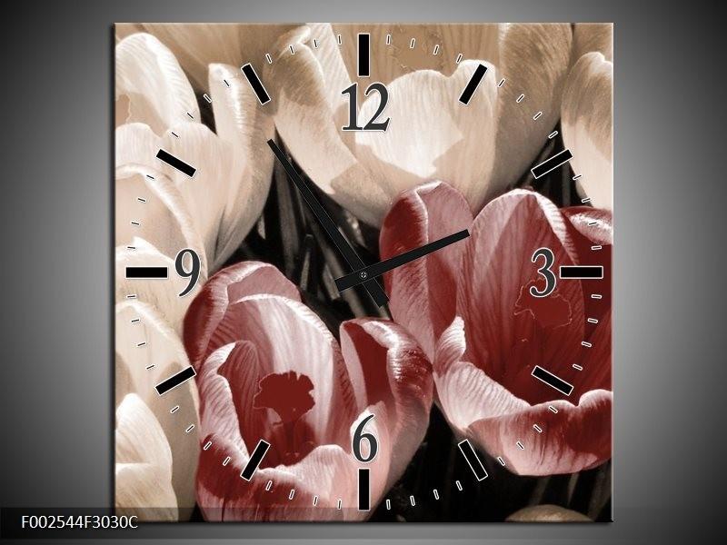 Wandklok op Canvas Krokus | Kleur: Bruin, Grijs, Wit | F002544C