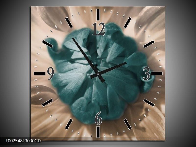 Wandklok op Glas Bloem | Kleur: Blauw, Wit, Grijs | F002548CGD