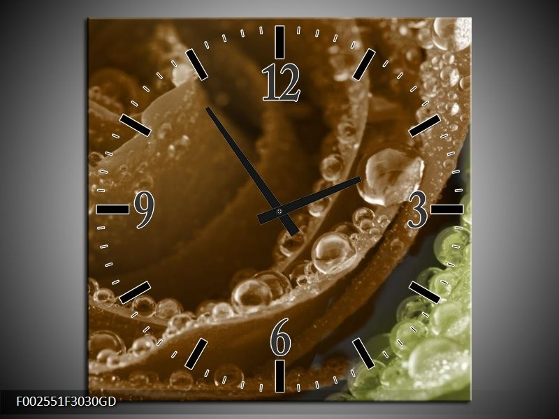Wandklok op Glas Roos   Kleur: Bruin, Groen   F002551CGD