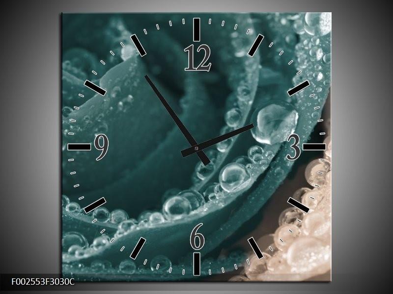 Wandklok op Canvas Roos   Kleur: Blauw   F002553C
