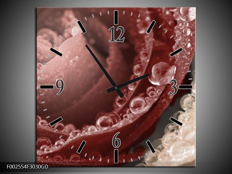 Wandklok op Glas Roos | Kleur: Bruin,  | F002554CGD