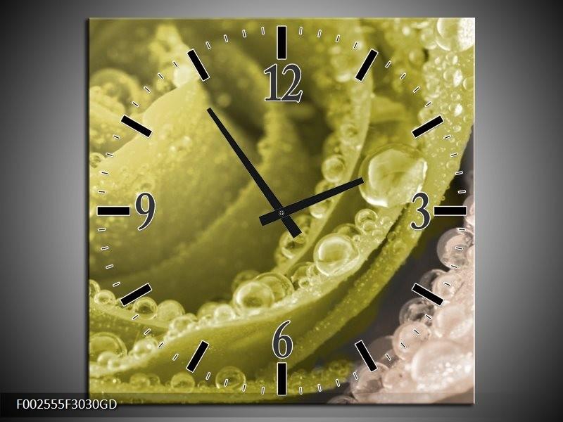 Wandklok op Glas Roos | Kleur: Groen | F002555CGD