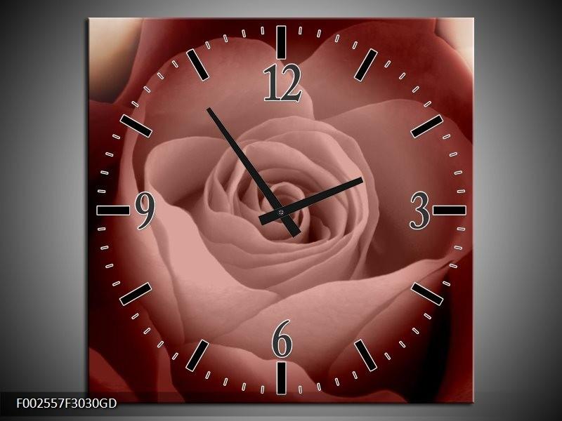 Wandklok op Glas Roos   Kleur: Bruin, Wit, Zwart   F002557CGD