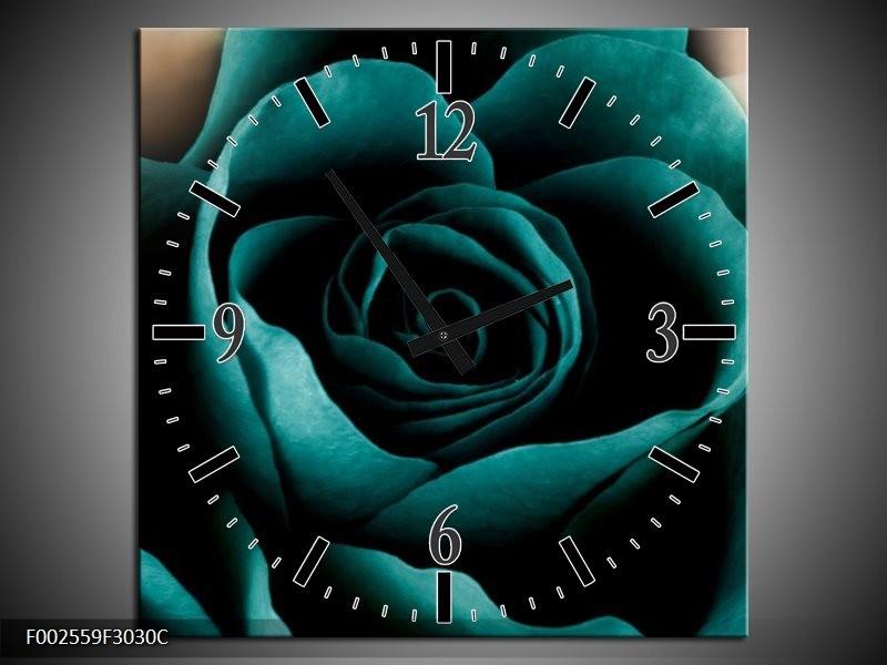 Wandklok op Canvas Roos | Kleur: Blauw, Wit, Zwart | F002559C