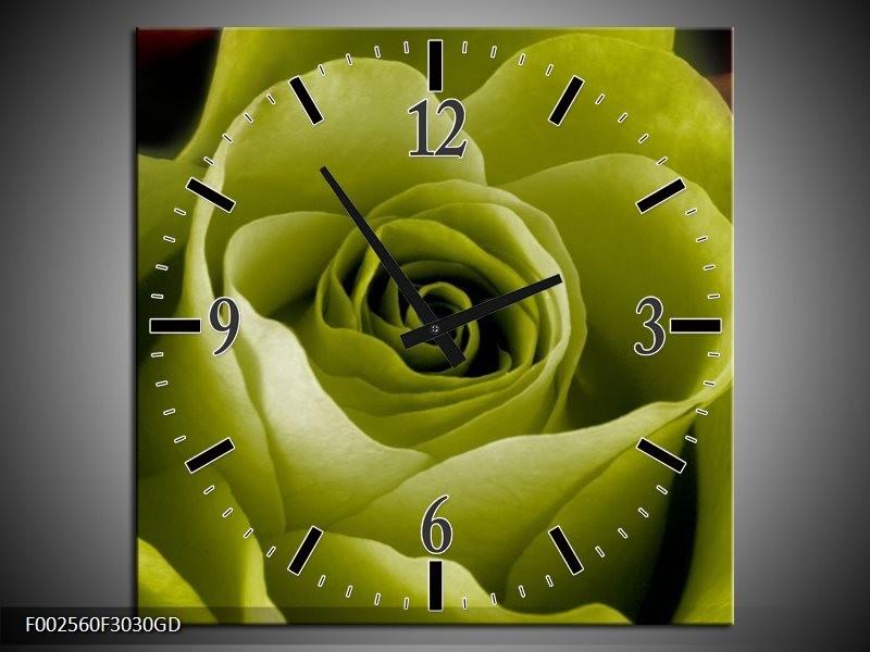 Wandklok op Glas Roos | Kleur: Groen, Wit, Zwart | F002560CGD