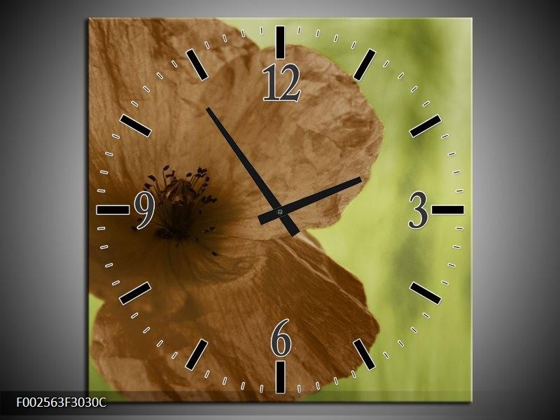 Wandklok op Canvas Klaproos | Kleur: Bruin, Groen, Zwart | F002563C