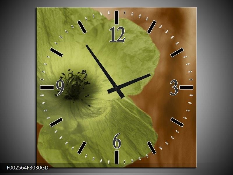 Wandklok op Glas Klaproos   Kleur: Bruin, Groen, Zwart   F002564CGD