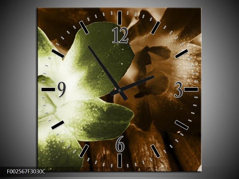 Wandklok op Canvas Bloem | Kleur: Groen, Bruin, Wit | F002567C