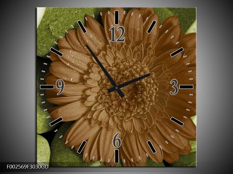 Wandklok op Glas Bloem | Kleur: Groen, Bruin, Wit | F002569CGD