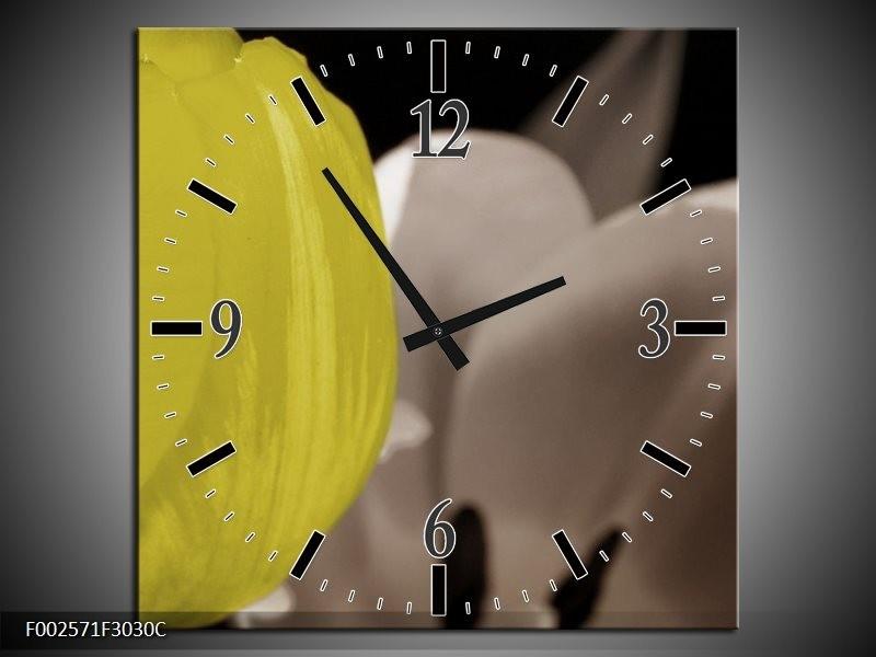 Wandklok op Canvas Tulp | Kleur: Geel, Grijs, Zwart | F002571C