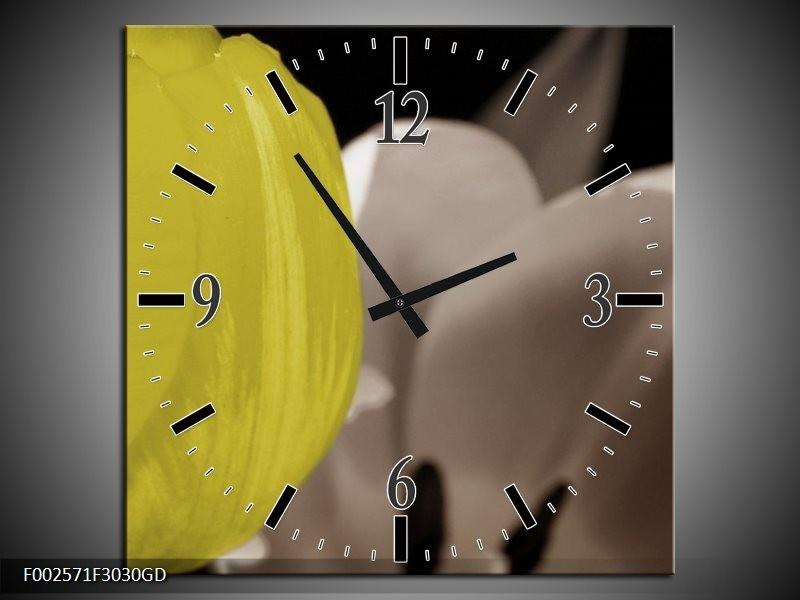 Wandklok op Glas Tulp | Kleur: Geel, Grijs, Zwart | F002571CGD