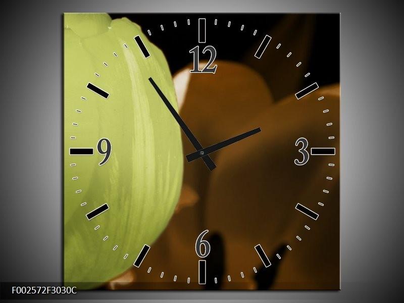 Wandklok op Canvas Tulp | Kleur: Groen, Bruin, Zwart | F002572C