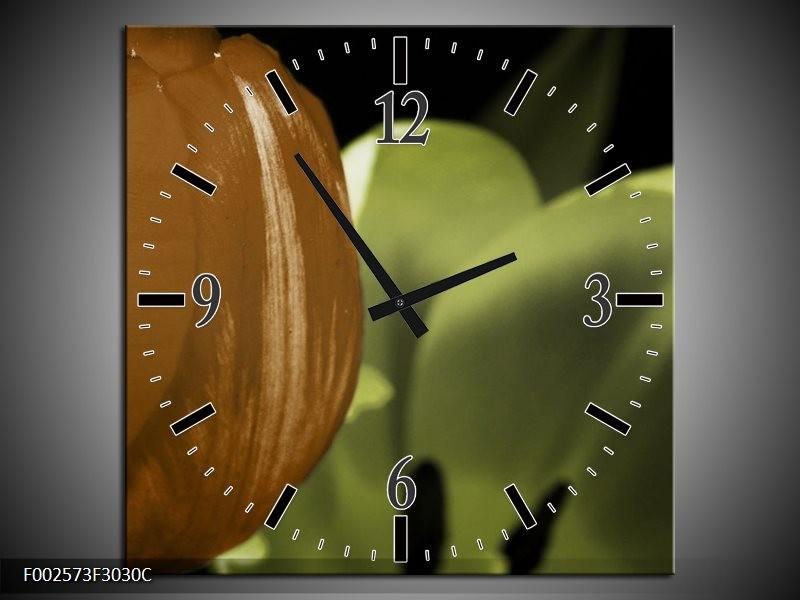Wandklok op Canvas Tulp | Kleur: Groen, Bruin, Zwart | F002573C