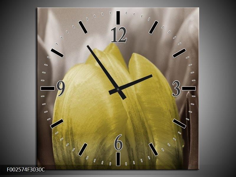 Wandklok op Canvas Tulp | Kleur: Geel, Grijs, Zwart | F002574C