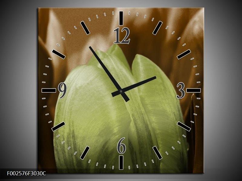 Wandklok op Canvas Tulp | Kleur: Groen, Bruin, Zwart | F002576C