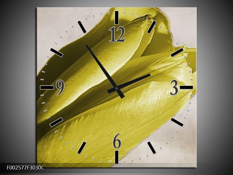Wandklok op Canvas Tulp | Kleur: Geel, Grijs, Zwart | F002577C