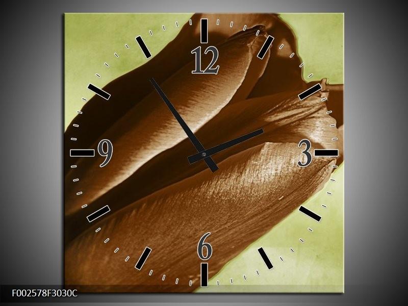 Wandklok op Canvas Tulp | Kleur: Bruin, Grijs, Zwart | F002578C