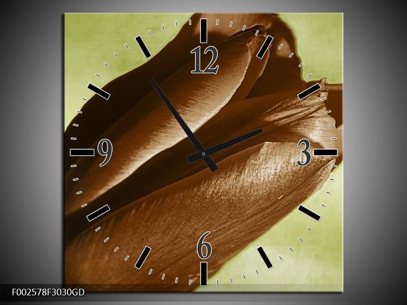 Wandklok op Glas Tulp | Kleur: Bruin, Grijs, Zwart | F002578CGD