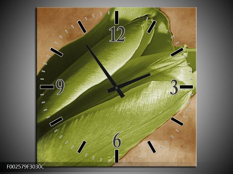 Wandklok op Canvas Tulp | Kleur: Groen, Bruin, Zwart | F002579C