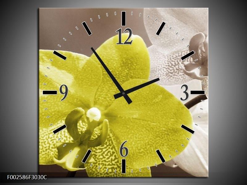Wandklok op Canvas Orchidee | Kleur: Wit, Groen, Grijs | F002586C