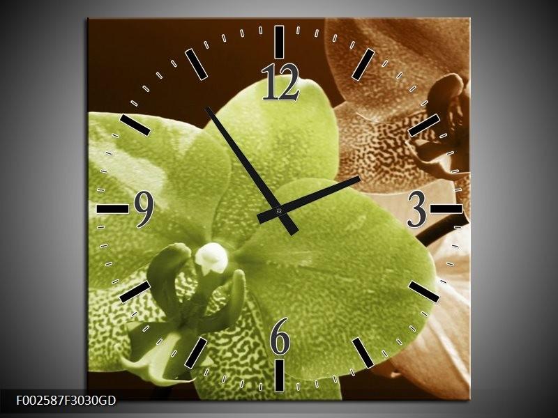 Wandklok op Glas Orchidee | Kleur: Groen, Bruin, Wit | F002587CGD