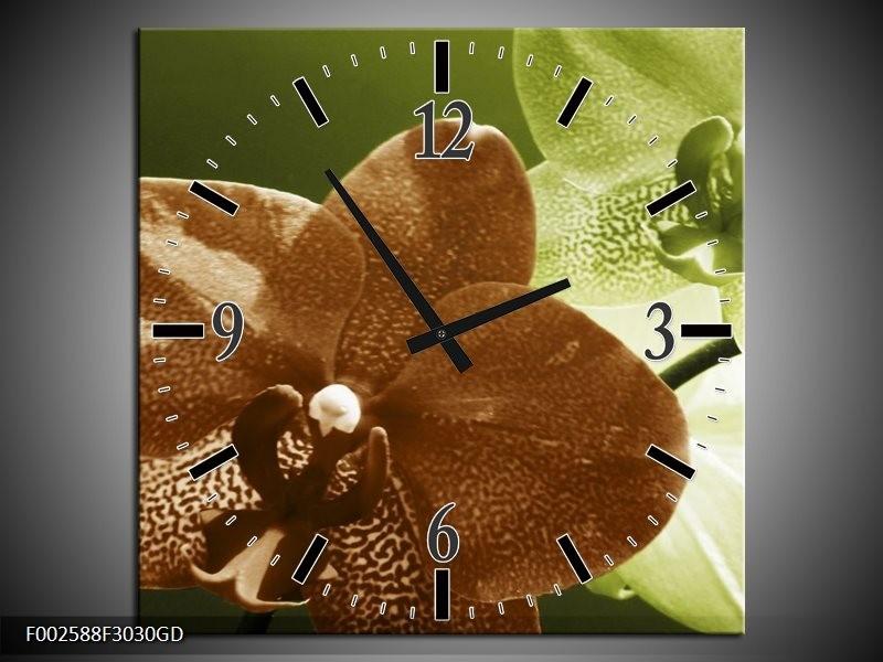 Wandklok op Glas Orchidee | Kleur: Groen, Bruin, Wit | F002588CGD