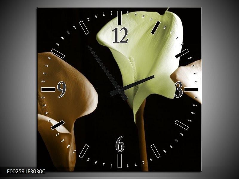 Wandklok op Canvas Bloem   Kleur: Groen, Bruin, Zwart   F002591C