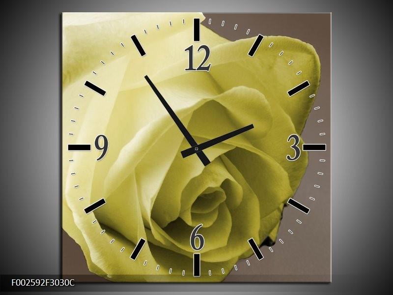 Wandklok op Canvas Roos | Kleur: Groen, Wit, Grijs | F002592C