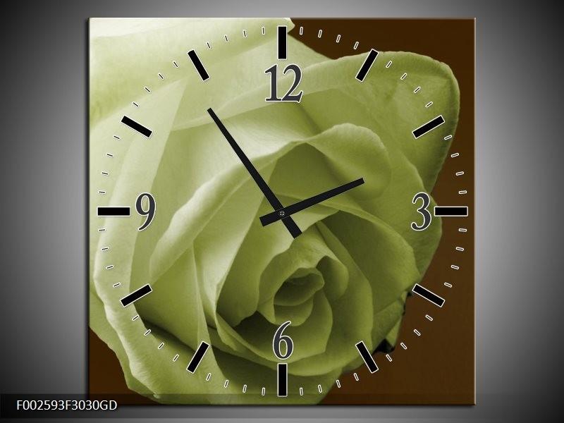 Wandklok op Glas Roos   Kleur: Groen, Wit, Bruin   F002593CGD