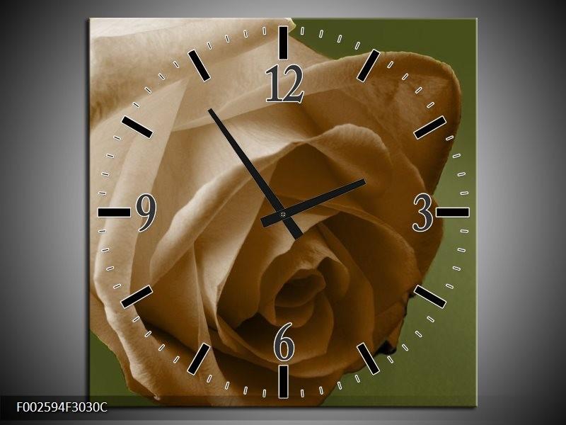 Wandklok op Canvas Roos | Kleur: Bruin, Wit, Grijs | F002594C