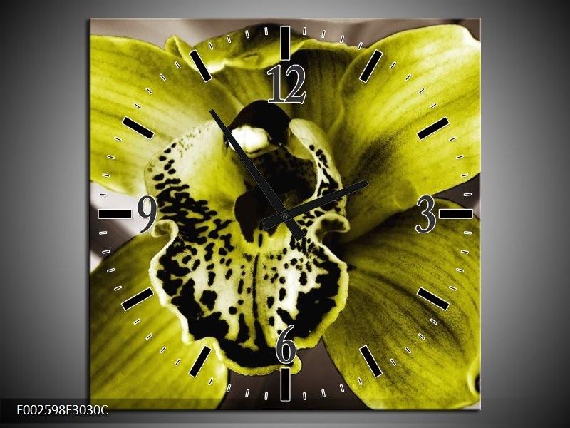 Wandklok op Canvas Iris | Kleur: Groen, Wit, Grijs | F002598C
