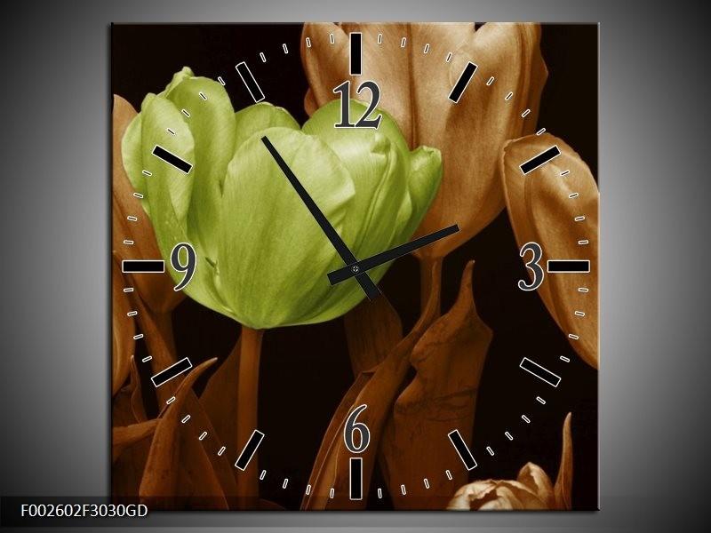 Wandklok op Glas Tulp | Kleur: Bruin, Groen, Zwart | F002602CGD