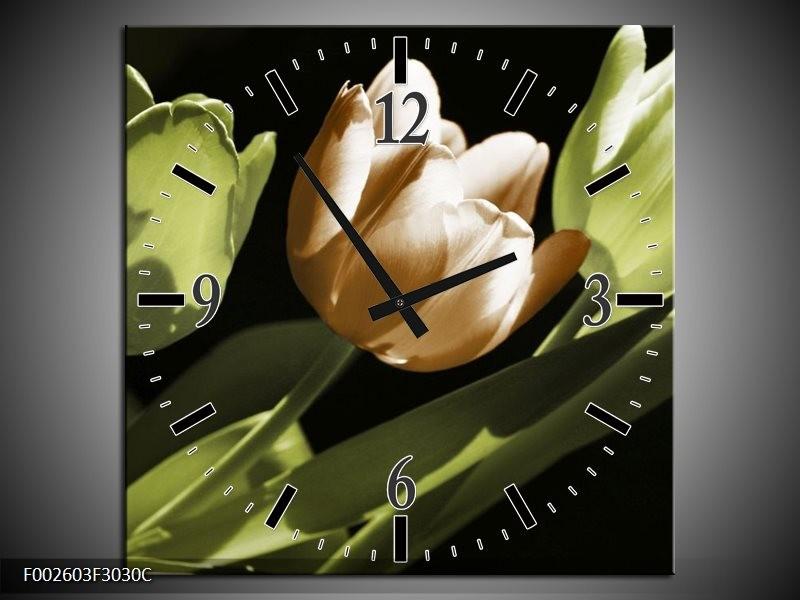Wandklok op Canvas Tulp   Kleur: Bruin, Groen, Zwart   F002603C