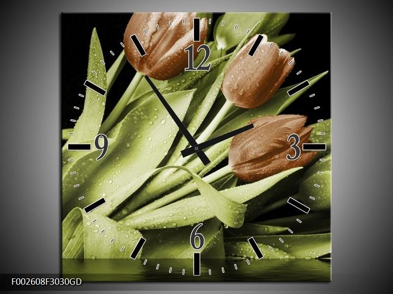 Wandklok op Glas Tulp | Kleur: Groen, Bruin, Zwart | F002608CGD