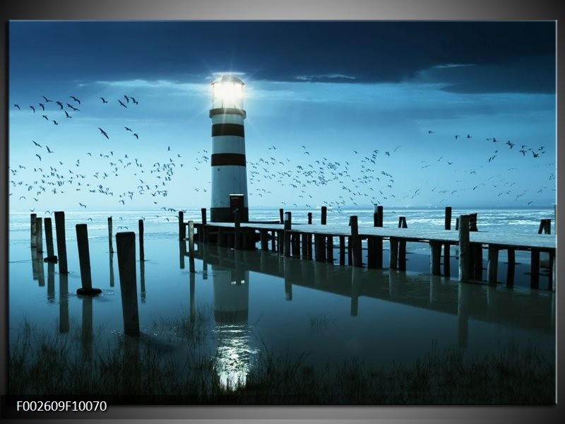Foto canvas schilderij Vuurtoren | Blauw, Wit, Zwart